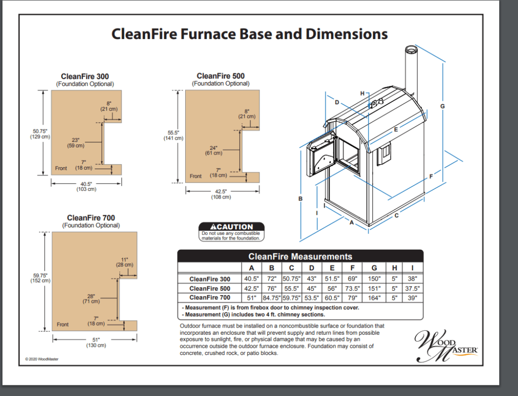 CleanFire Furnace Base and Dimensions