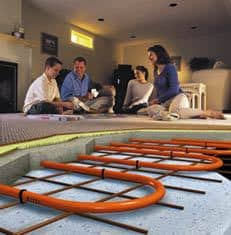 Pex pipe concrete floor installation