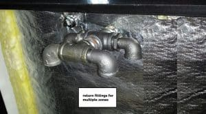 Return fittings for multiple zones